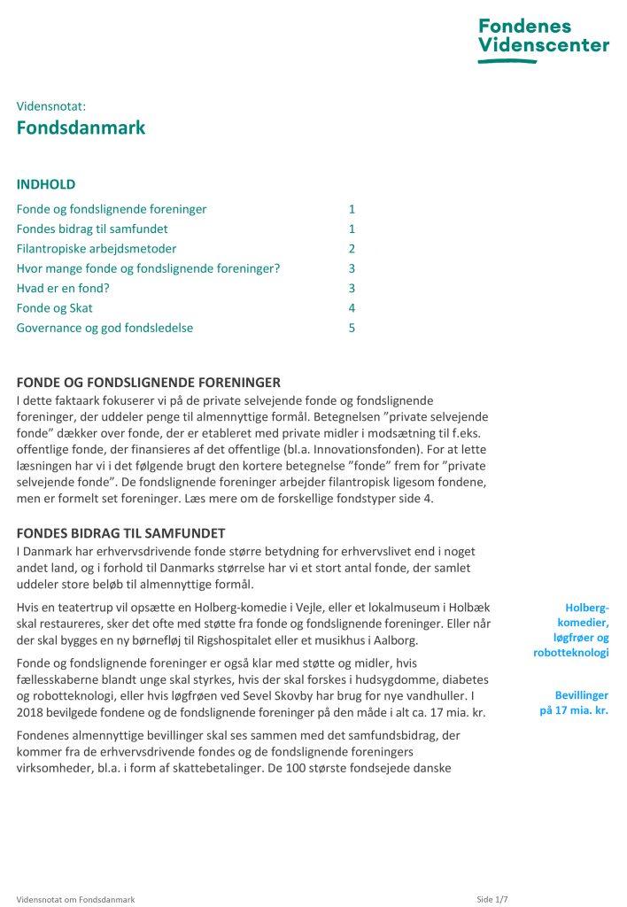 Billledet viser forsiden til Vidensnotat om Fondsdanmark
